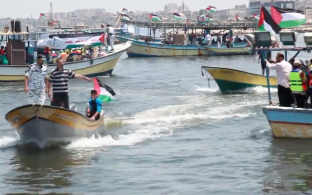 Screenshot from Youtube of Palestinian boats setting sail trying to break Israel's blockade  in May 2018