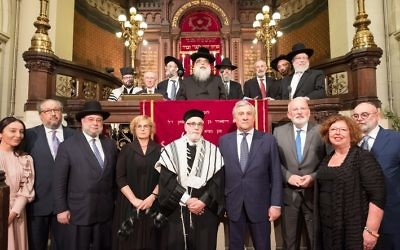 Frans Timmermans (front row, third from right) speaking at the Great Synagogue in Brussels, alongside European Jewish leaders