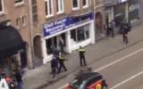 Screenshot showing the Palestinian protester smashing up a kosher shop