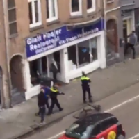 Screenshot showing the Palestinian protester smashing up a kosher shop in Amsterdam, May 2018