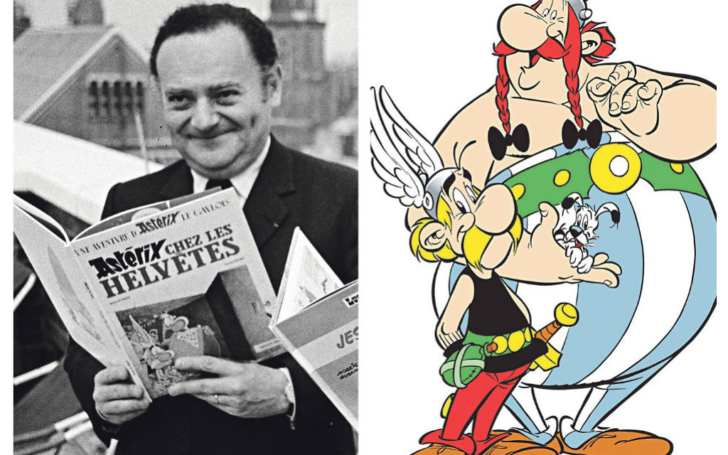 On the left René Gascinny with a copy of an Astérix book, with Astérix, Obelix and Dogmatix on the right