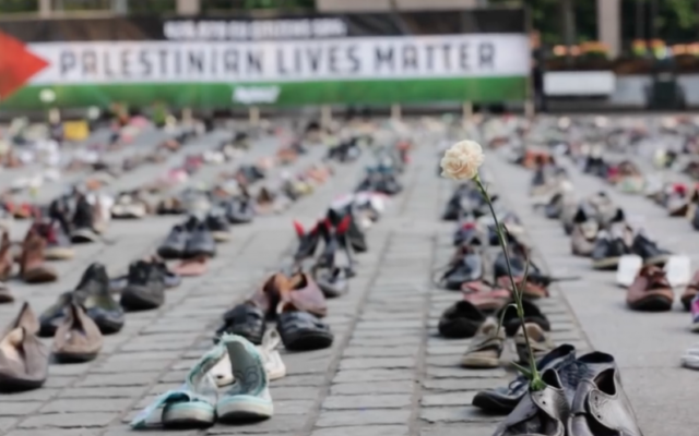 Thousands of shoes placed in Brussels to remember Palestinians who have been killed. Source: Screenshot from Youtube