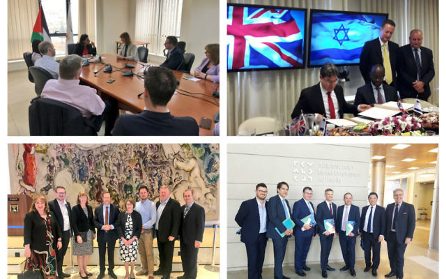 Top left: Labour MPs meeting Palestinian Authority Minister Amal Jadou in Ramallah. Top Right  Science Ministers Ofir Akunis & the UK's Sam Gyimah sign a memorandum of understanding. Bottom left : Labour MPs meeting with opposition leader Isaac Herzog. Bottom right: Tory MPs visit  visit Israel Innovation Authority,