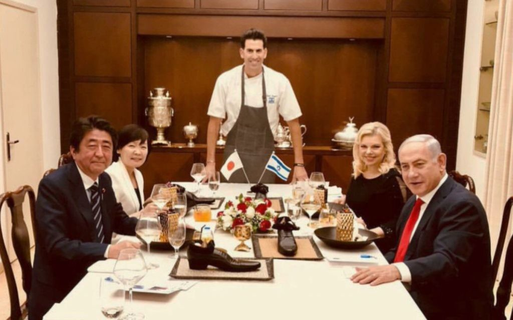 Prime Minister Benjamin Netanyahu with Japanese Prime Minister Shinzo Abe and their two wives, as they sat down for the infamous meal