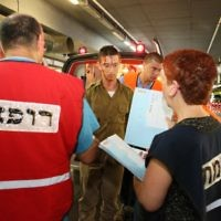 Drill simulating a missile attack on Haifa in Rambam's underground hospital.