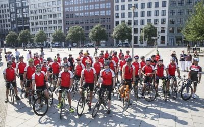 Cyclists at Friedrichstrasse Station in Berlin, Germany, before they begin their commemorative ride retracing the journey of 10,000 children who were rescued from Nazi Europe on the Kindertransport 80 years ago.   Photo credit: World Jewish Relief /PA Wire