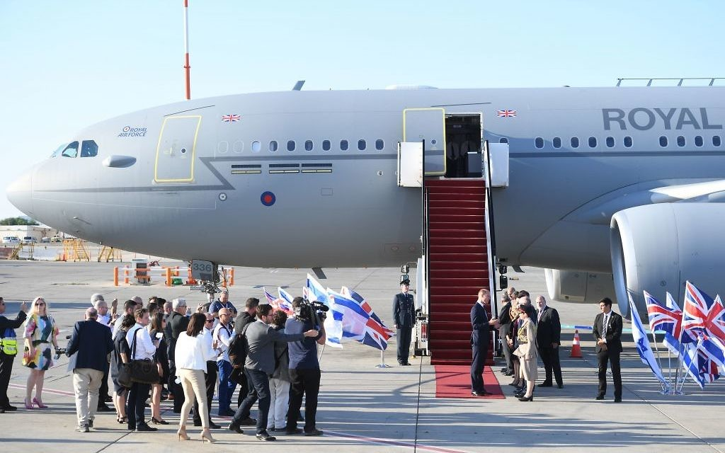 The Duke of Cambridge arrives at Israel Ben Gurion Airport in Tel Aviv, Israel.   Photo credit: Joe Giddens/PA Wire