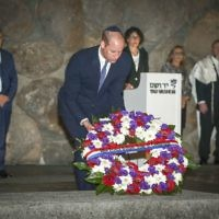 The Duke of Cambridge lays a wreath in the Hall of Remembrance, during a visit to the Yad Vashem Holocaust Memorial and Museum in Jerusalem, Israel   Photo credit: Ian Vogler/Daily Mirror/PA Wire