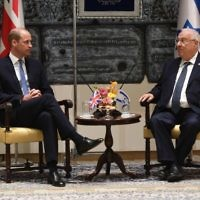 The Duke of Cambridge during his audience with Israeli President Reuven Rivlin at his official residence in Jerusalem, Israel    Photo credit: Joe Giddens/PA Wire