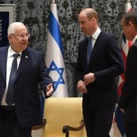 The Duke of Cambridge during his audience with Israeli President Reuven Rivlin at his official residence in Jerusalem, Israel,   Photo credit: Joe Giddens/PA Wire