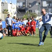 The Duke of Cambridge attends a session at the Equaliser football programme, Jaffa, Tel Aviv, Israel.  Photo credit: Joe Giddens/PA Wire