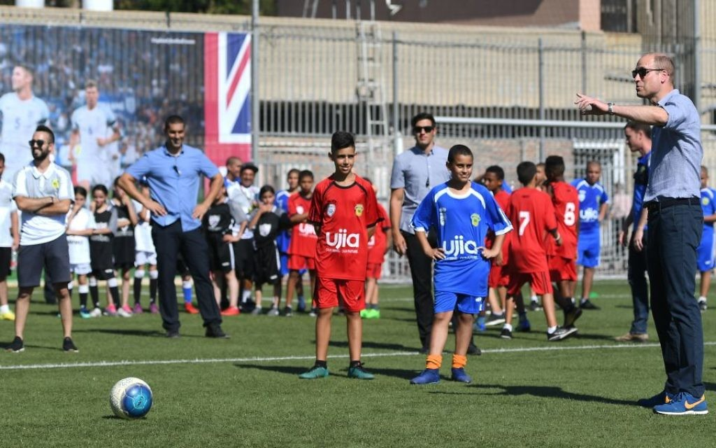 The Duke of Cambridge attends a session at the Equaliser football programme, Jaffa, Tel Aviv, Israel, with Jewish and Arab-Israeli children.  Photo credit: Joe Giddens/PA Wire