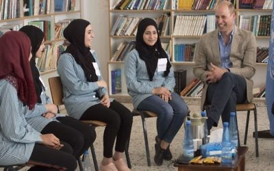 The Duke of Cambridge during a visit to a school in the Jalazone Refugee Camp, located north of Ramallah, in the West Bank   Photo credit: Arthur Edwards/The Sun/PA Wire