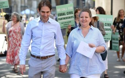 Rebecca Steinfeld and Charles Keidan outside the Supreme Court in London,    Photo credit: Kirsty O'Connor/PA Wire