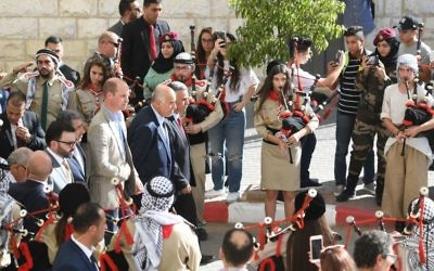 The Duke of Cambridge during a cultural engagement in Ramallah in the West Bank . Photo credit: Joe Giddens/PA Wire