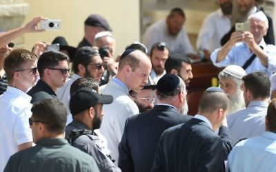 The Duke of Cambridge at the Western Wall, with Chief Rabbi Ephraim Mirvis, during a visit to Jerusalem's Old City.  Photo credit: Joe Giddens/PA Wire