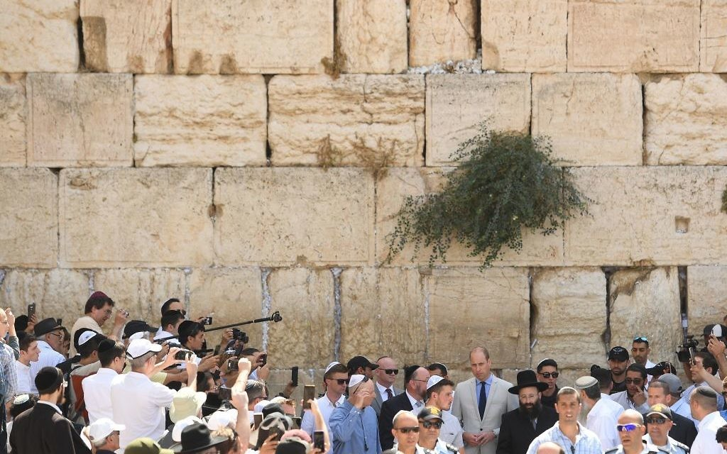 The Duke of Cambridge at the Western Wall during a visit to Jerusalem's Old City.  Photo credit: Joe Giddens/PA Wire
