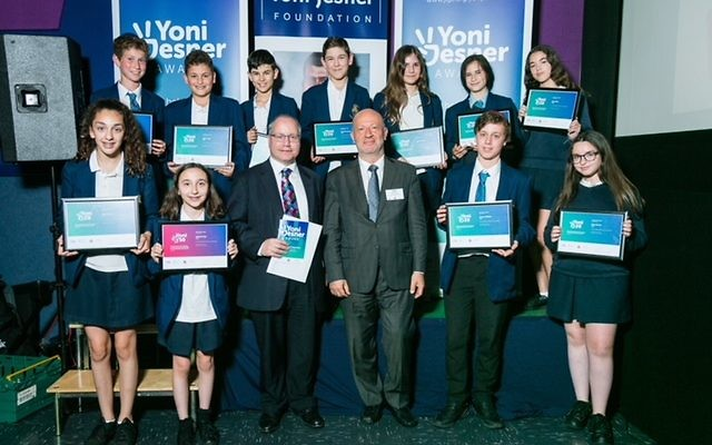 Award recipients from JFS and new Board of Deputies Vice President Edwin Shuker, who presented the students with their certificates