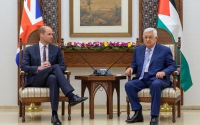Palestinian President Mahmoud Abbas sits down with the Duke of Cambridge, Prince William