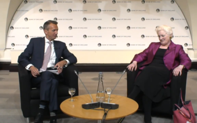 Baroness Neuberger (right) with event host Andy Haldane of the Bank of England