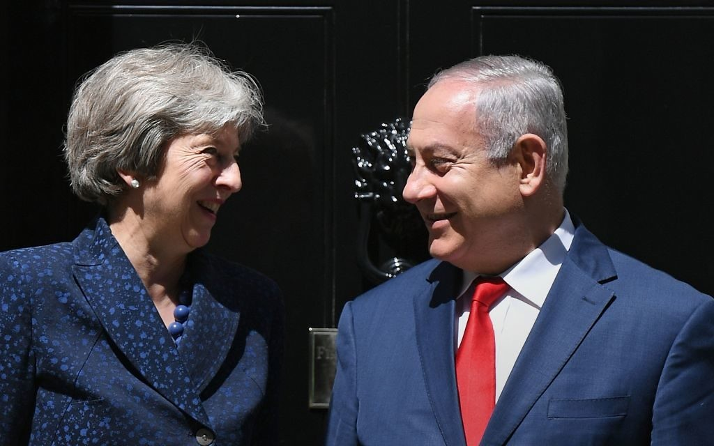 Prime Minister Theresa May greets Israeli Prime Minister Benjamin Netanyahu to 10 Downing Street, London, ahead of a bilateral meeting.   Photo credit: Stefan Rousseau/PA Wire