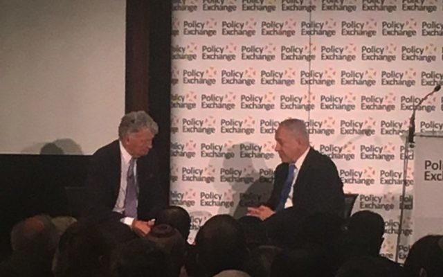 Benjamin Netanyahu speaking at Policy Exchange, where he spoke about the end of the Iran nuclear deal