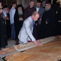 The Duke of Cambridge visits the Church of the Holy Sepulchre in the Old City of Jerusalem.  Source:  @KensingtonRoyal