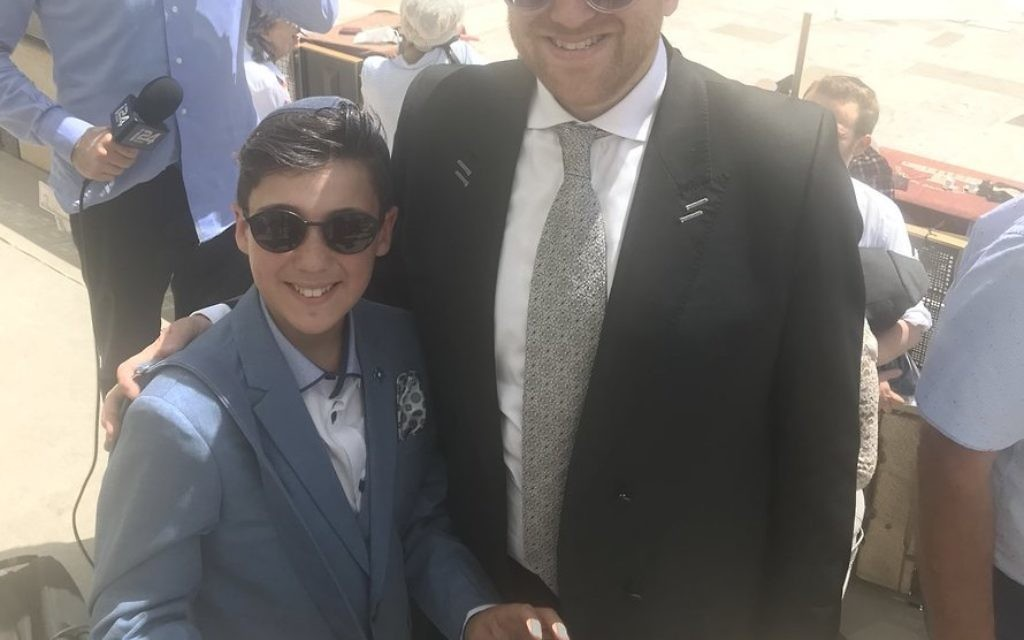 Barmitzvah boy from Hendon, Shimi Abramson celebrating his big day when William arrived at Kotel