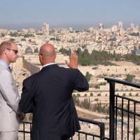 The Duke of Cambridge at Mount of Olives overlooking Jerusalem's Old City