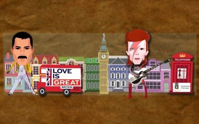 David Bowie and Freddie Mercury on the UK's float design