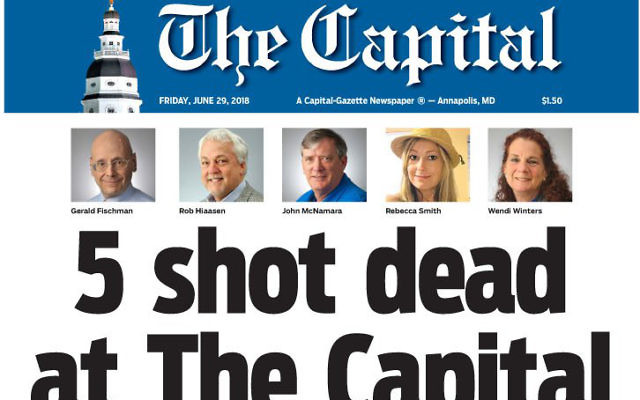 The Capital Gazette 's front page features five victims, including Gerald, first on the left