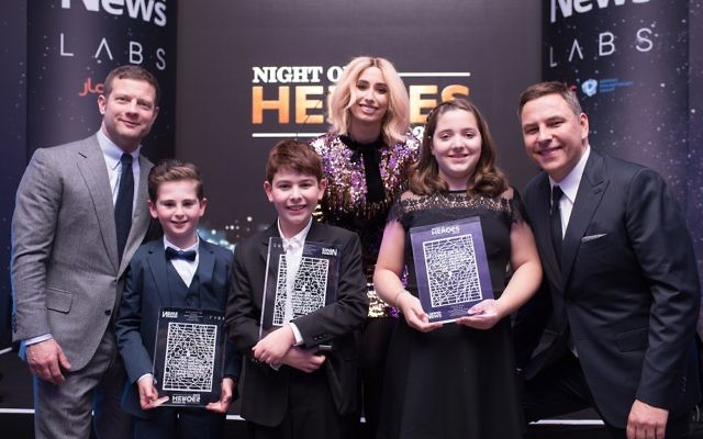 Dermot O'Leary, Rio Woolf, Zak Cohen, Stacey Solomon, Lucy Ronson Allalouf and David Williams at February's Night of Heroes event
