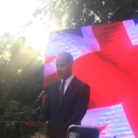 Prince William making his speech in Tel Aviv