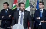 Hard-line interior minister Matteo Salvini (centre)