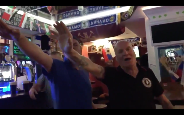 Screenshot from video of England fans performing Nazi salutes in Russia