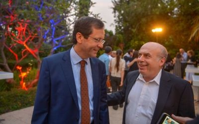 New Jewish Agency chair Isaac Herzog with outgoing man, Natan Sharansky, during Jewish News' Aliyah 100 reception in Israel.  Credit: Yossi Zeligar/Nikoart