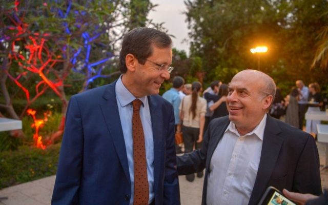 New Jewish Agency chair Isaac Herzog with his predecessor, Natan Sharansky, during Jewish News' Aliyah 100 reception in Israel.  Credit: Yossi Zeligar/Nikoart