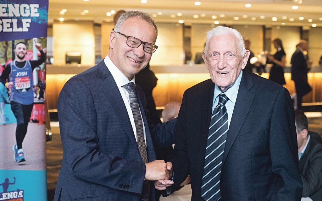 Steven Lewis, Chairman, Jewish Care with Tony Fisher who appeared in evenings appeal film  Credit: Blake Ezra Photography