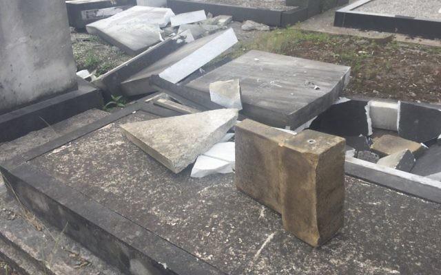 Vandalism at Urmston Jewish Cemetery  Credit: @Joanne13Harding on Twitter