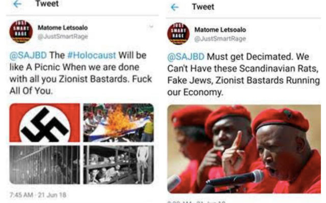 Two examples of antisemitism highlighted by the South African Jewish Board of Deputies