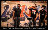 Screenshot from a video with the rapper, showing obscene lyrics about Israel and Zionism