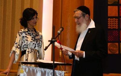 Rabbi Dr Sperber alongside Rabba Brawer at her semicha   Credit: Shulamit Seidler-Feller
