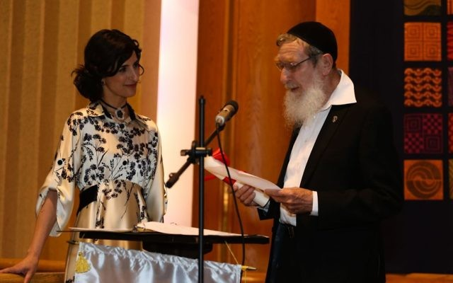 Rabbi Dr Sperber alongside Rabba Brawer at her semicha   Credit: Shulamit Seidler-Feller
