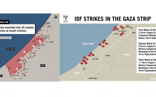 IDF illustration shows where Gaza rockets were fired from and where the Israeli responses were delivered to