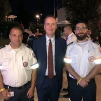 MDA staff with UK Ambassador to Israel, David Quarrey