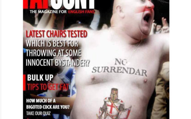 Photo shopped image depicting Paul Gregory as an EDL football hooligan