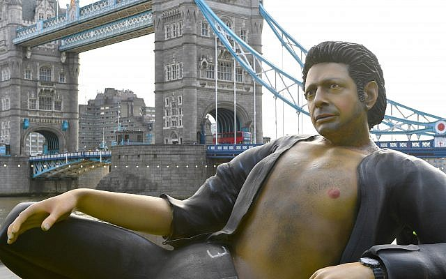A 25ft statue of Jeff Goldblum's torso in his famous pose from Jurassic Park   Photo credit : Doug Peters/PA Wire