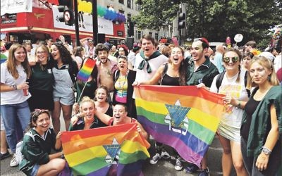 Loud and proud: Jewish participants at last year's  London Pride with Reform Judaism's Senior Rabbi Laura Janner-Klausner (centre)