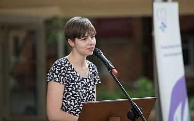 CCJ programme manager Jessica Spencer speaking at their annual garden party