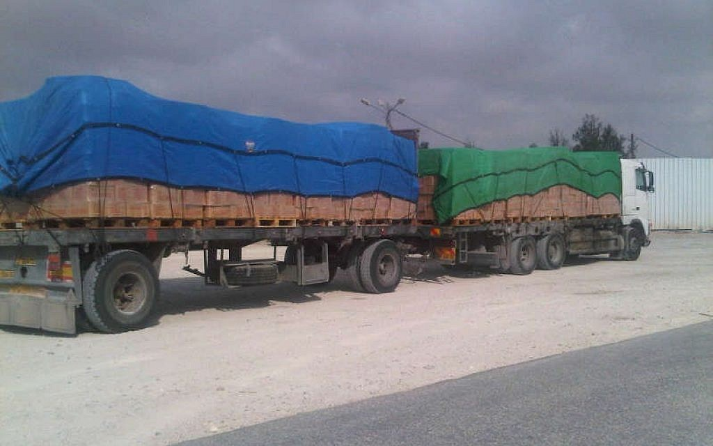 Cargo entering Gaza at Kerem Shalom crossing